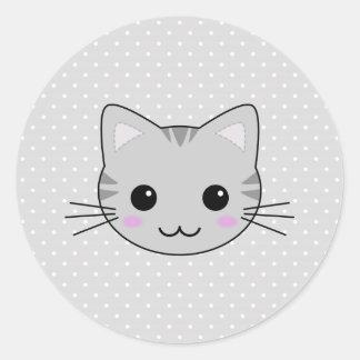 Cute Kawaii Gray Tabby Cat Cartoon Round Sticker