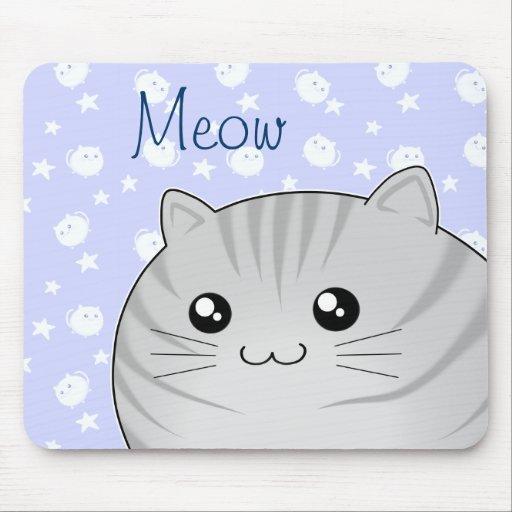 Cute Kawaii grey tabby kitty cat Mouse Pad