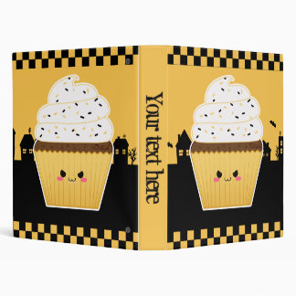Cute Kawaii Halloween cupcake 3 Ring Binder