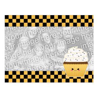 Cute Kawaii Halloween cupcake for photo Postcard