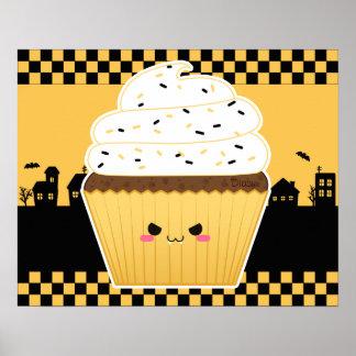 Cute Kawaii Halloween cupcake Poster