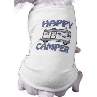 Cute Kawaii Happy Camper Trailer Dog T-Shirt