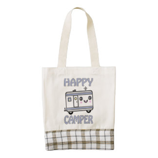 Cute Kawaii Happy Camper Trailer Zazzle HEART Tote