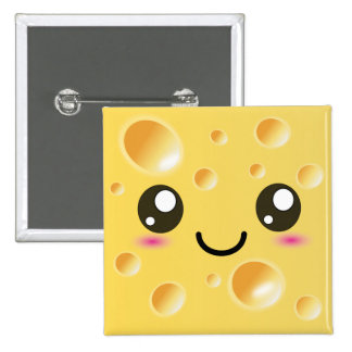 Cute Kawaii Happy Cheese 2 Inch Square Button