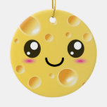 Cute Kawaii Happy Cheese Double-Sided Ceramic Round Christmas Ornament