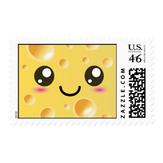 Cute Kawaii Happy Cheese Postage Stamp