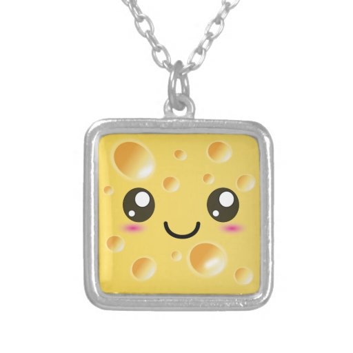 Cute Kawaii Happy Cheese Square Pendant Necklace