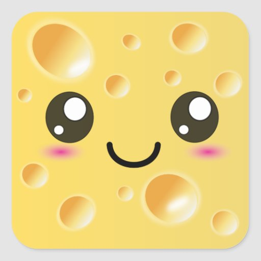 Cute Kawaii Happy Cheese Square Stickers