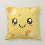 Cute Kawaii Happy Cheese Throw Pillow