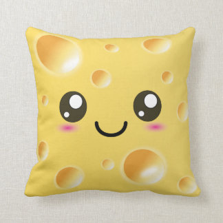 Cute Kawaii Happy Cheese Throw Pillow