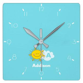 Cute Kawaii Happy Sunshine Monogram Add Your Name Square Wall Clock