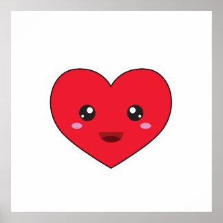 cute kawaii heart poster