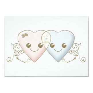 Cute Kawaii Hearts Entwined Wedding Invitation