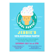 Cute Kawaii Ice Cream Pool Party Kids Birthday Invitation