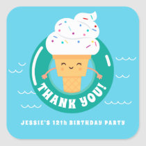 Cute Kawaii Ice Cream Pool Party Kids Thank You Square Sticker