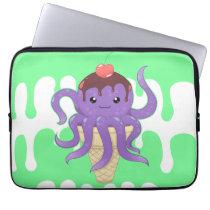Cute kawaii ice cream purple octopus computer sleeve