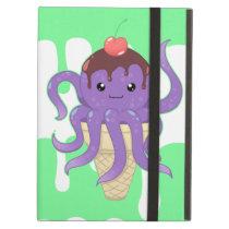 Cute kawaii ice cream purple octopus iPad air case