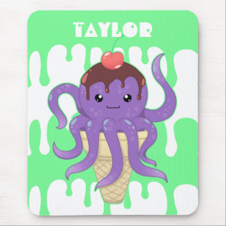 Cute kawaii ice cream purple octopus mouse pad