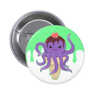 Cute kawaii ice cream purple octopus pinback button