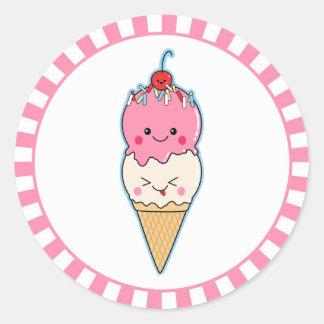 Cute Kawaii Ice Cream Classic Round Sticker