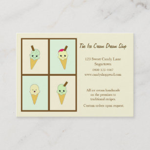 Gelato business cards zazzle cute kawaii ice cream waffle cones business card reheart Image collections