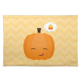 Cute Kawaii Jack o'Lantern and Candy Corn Cloth Placemat