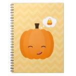 Cute Kawaii Jack o'Lantern and Candy Corn Spiral Note Book