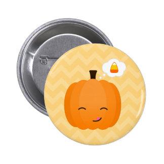 Cute Kawaii Jack o'Lantern and Candy Corn Pinback Button