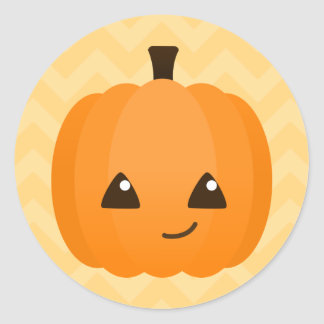 Cute Kawaii Jack o'Lantern Classic Round Sticker