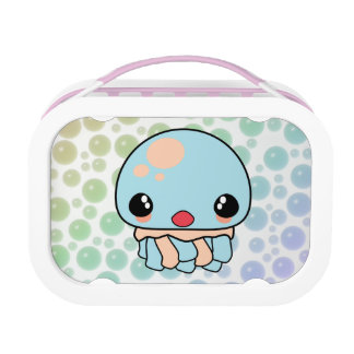 cute kawaii jellyfish with bubbles background lunch box