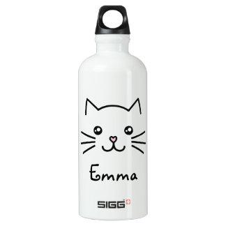 Cute Kawaii Kitten Cat Face With Pink Heart Nose Aluminum Water Bottle