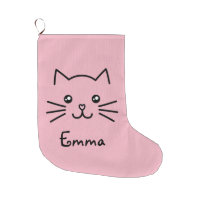 Cute Kawaii Kitten Cat Face With Pink Heart Nose Large Christmas Stocking