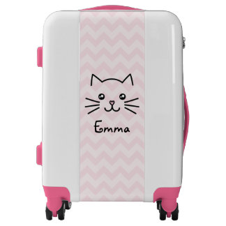 Cute Kawaii Kitten Cat Face With Pink Heart Nose Luggage