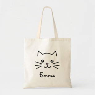 Coffee Lover Eco Cat Cat Lover Gift Starbucks Parody Cute Printed Toebeans Coffee  Canvas Zipper Tote || Kawaii Tote Environmental