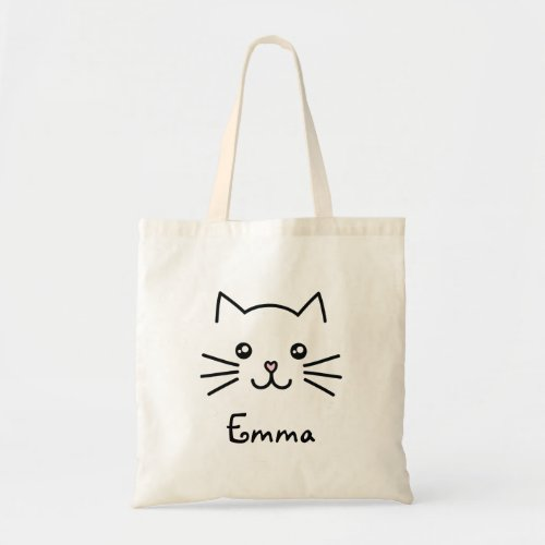 Cute Kawaii Kitten Cat Face With Pink Heart Nose Tote Bag