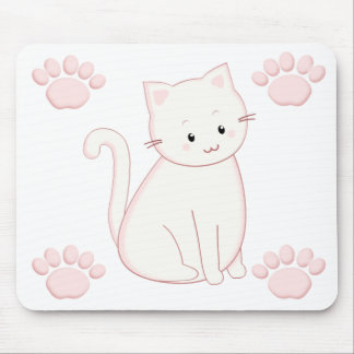Cute Kawaii Kitty Cat in Pinks Mouse Pad