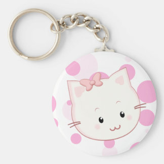 Cute Kawaii Kitty Cat with Bow in Pink Keychain
