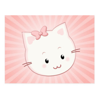 Cute Kawaii Kitty Cat with Bow in Pink Postcard