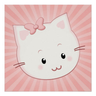 Cute Kawaii Kitty Cat with Bow in Pinks Poster
