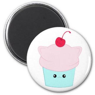 Cute kawaii kitty cupcake with sleeping cherry mag 2 inch round magnet