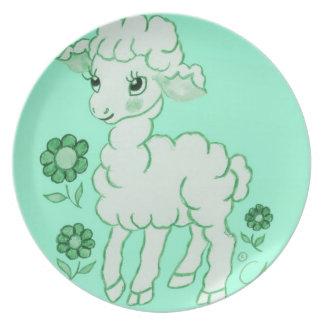 Cute Kawaii Lamb Mint Green Party Plates
