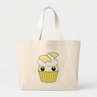 Cute Kawaii Lemon Cupcake - by Matilda Lorentsson Large Tote Bag