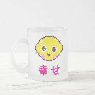 Cute kawaii lemon frosted mug with japanese kanji