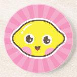 Cute kawaii lemon sandstone coaster