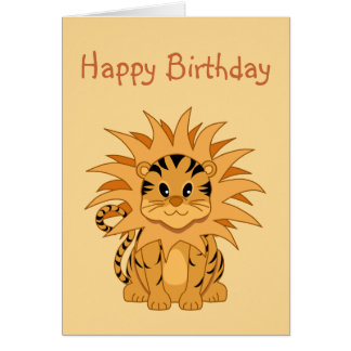 Cute Kawaii Liger Cartoon Cat Cards
