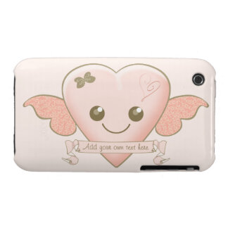 Cute Kawaii Love Heart with Wings and Bow in Pink iPhone 3 Case