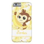 Cute Kawaii monkey holding banana Barely There iPhone 6 Case