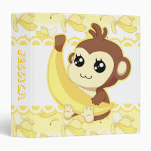 Cute Kawaii monkey holding banana Binders