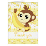 Cute Kawaii monkey holding banana birthday Card