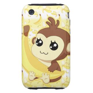 Cute Kawaii monkey holding banana iPhone 3 Tough Cover